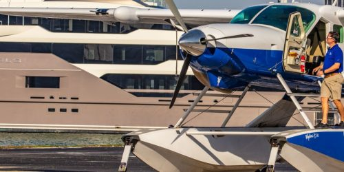 """""""Love is in the air"""" via seaplane during the Miami Yacht Show"""